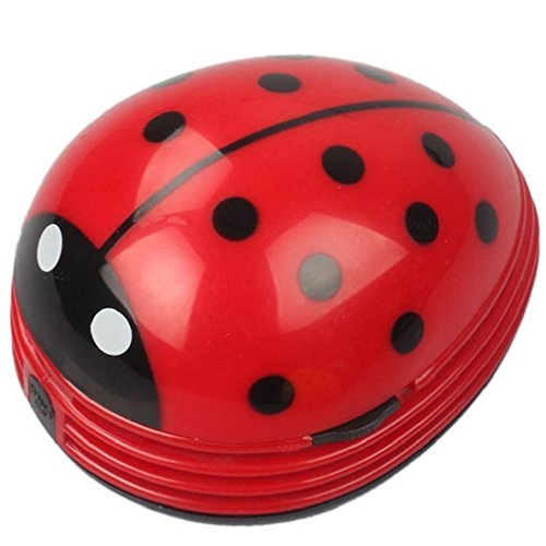 Mini Portable Handheld Cordless Tabletop Crumb Sweeper Desktop Dust Vacuum Cleaner Cute Beetle Ladybug Battery Operated (Red)