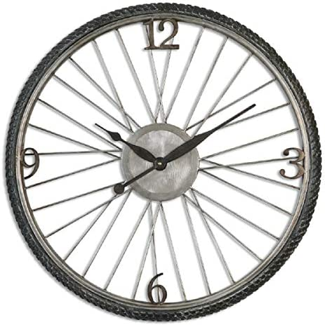 Diva At Home 26.25 Masculine Bicycle Tire Aged Wall Clock with Distressed Silver Champagne Details