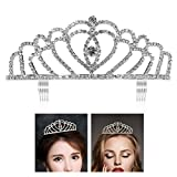 ETEREAUTY Crown Shaped Bridal Tiara with Rhinestones and Comb Headband