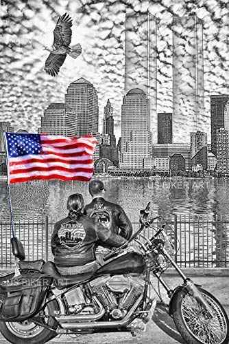9/11 NEW YORK FDNY TWIN TOWERS HARLEY DAVIDSON TRIBUTE USA STURGIS BIKER ART PRINT (New York Für Männer)