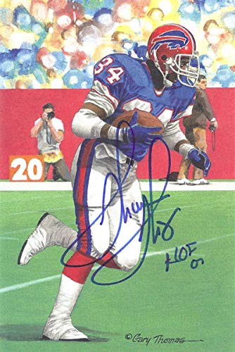 Thurman Thomas Autographed/Signed Buffalo Bills Goal Line Art Blue HOF
