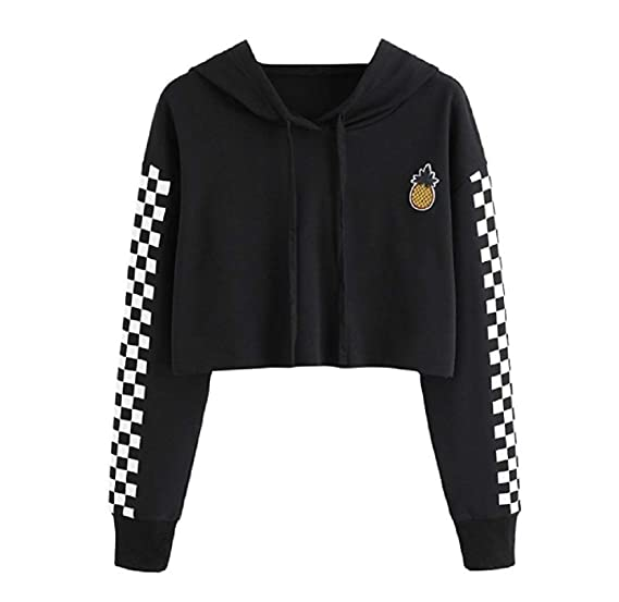 e6a46f30ac Women s Cute Crop Top Teen Girls Cropped Hoodie Pineapple Print Sweater  Color Block Jacket Sweatshirt Jumper