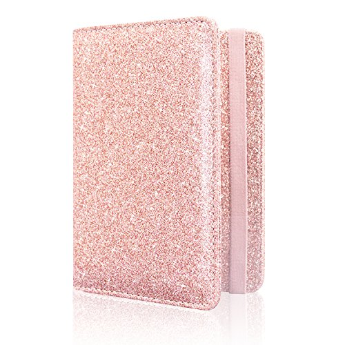 Passport Holder Cover, ACdream Travel Leather RFID Blocking Case Wallet for Passport with Elastic Band Closure, Rose Gold Glitter