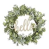 FAVOWREATH Vitality Series FAVO-W121 Handmade 14 inch Green Grass,Berry,Hello Letter,Grapevine Wreath for Summer/Fall Festival Front Door/Wall/Fireplace Every Day Nearly Natural Home Hanger Decor