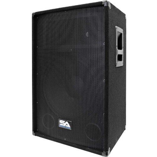 Seismic Audio SA-15T-PW 350W Active Powered 2-Way 15-Inch PA/DJ Speaker Cabinet with Titanium ()