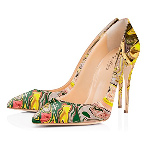 Women Wedding Court Sandals For Pointed 5 Dress High Onlymaker print Women's Heel Pumps Party Toe Shoes 0qgOa4gw