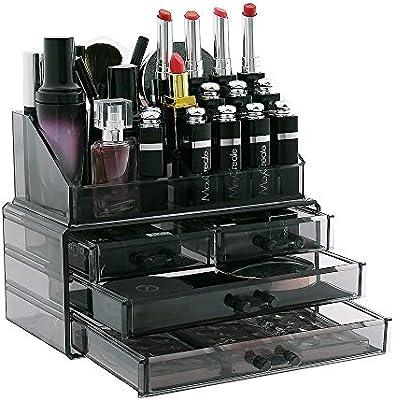 Display4top Caja acrílica Estante de maquillajes Maquillaje Cosméticos Joyería Organizador (4 Drawers Smoky Gray): Amazon.es: Belleza