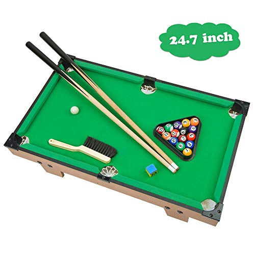 (Portzon Mini Pool Table, Premium Tabletop Billiards Mini Snooker Game Set - Balls, Cues, and Rack Pool, Sport Bank Shot Family Playing)