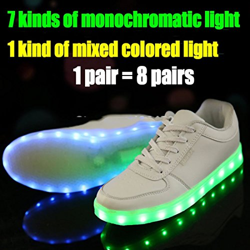 Size Colorful Sneakers Colors 7 6 Leisure Light Women Unisex Usb Luminous LED Charging Shoes Shoes Glowing Us Shoes Men Sneakers amp; Flat 6wwRq