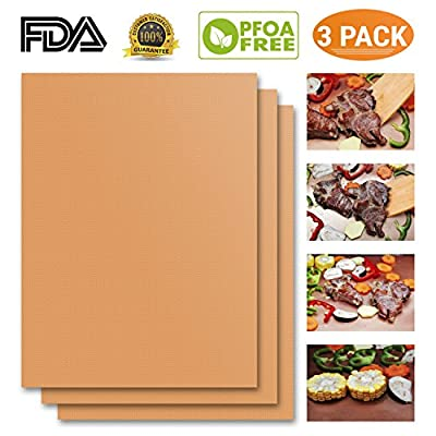 Copper Grill Mat Set of 3 High Heat Resistant Gold Cooking Mat for Gas, Charcoal, Electric Grill. Best Non Stick BBQ Grilling Baking Mat FDA-Approved PFOA Free Reusable & Easy to Clean Dishwasher Safe by Havipro