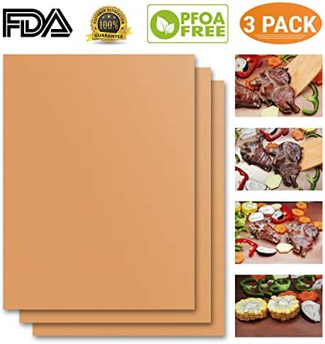 Copper Grill Mat Set of 3 Heavy Duty Gold Cooking Mat. Best for Gas, Charcoal, Electric Barbecue Grill. Non Stick Reusable BBQ Grilling Baking Mat FDA-Approved, PFOA Free Easy to Clean Dishwasher Safe