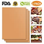 Copper Grill Mat Set of 3 Heavy Duty Gold Cooking Mat Best for Gas Charcoal Electric Barbecue Grill Non Stick Reusable BBQ Grilling Baking Mat FDA Approved PFOA Free Easy to Clean Dishwasher Safe