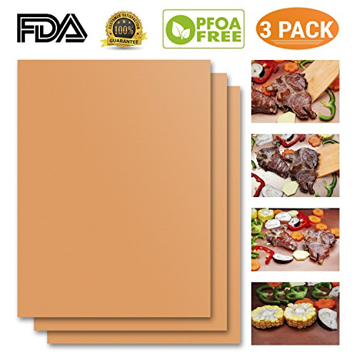 Why Choose Copper Grill Mat Set of 3 Heavy Duty Gold Cooking Mat. Best for Gas, Charcoal, Electric B...