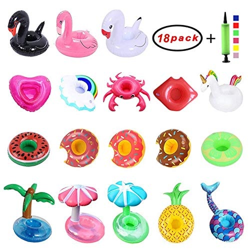 Autoark Inflatable Drink Coasters,Kids Bath Toys and Pool Party (18 Pieces),Free Air Pump (Color Random),AT-009 -