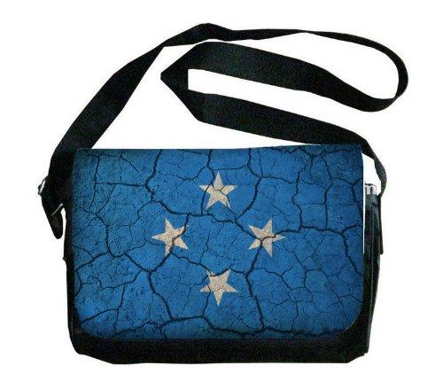 Micronesia Flag Crackled Design Messenger Bag