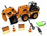 O.B Toys&Gift Remote Control Construction Tractor Front Loader 5 Channel w/ Full Functional Front Loader , Lights , Sounds & Rechargeable Battery , Kids RC Electric Tractor Ready to Run