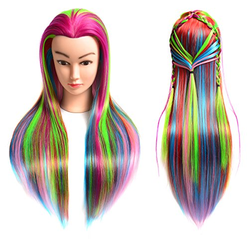 20 Synthetic Cosmetology Mannequin Training Head with Hair and Free Clamp Holder Multi-color
