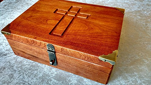 Wooden Bible Box - Cherry Bible Box Book Box or Wooden Keepsake Box