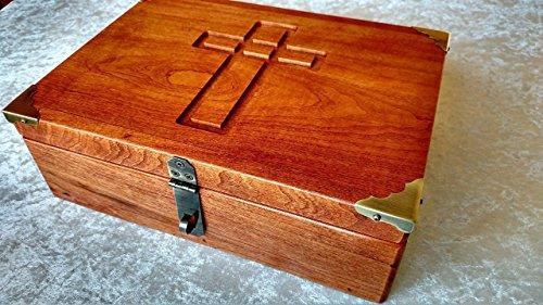 Wooden Bible Box - Cherry Bible Box Book Box or Keepsake Box