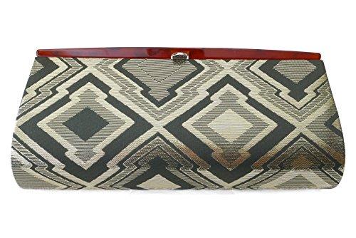Three Rhombus Diamond Shape Connect Pattern- Clutch Bag, Nishijin KINRAN Green×Real Gold Yarn