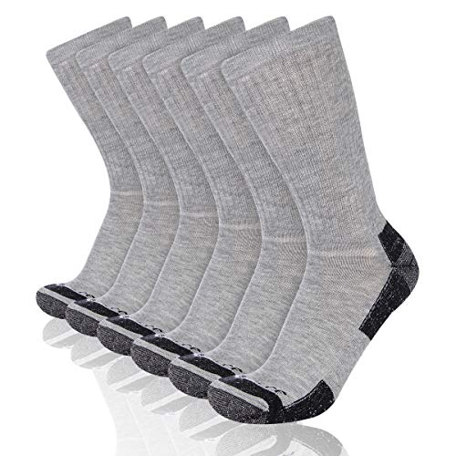- Heatuff Mens 6 Pack Crew Athletic Work Socks With Cushion, Reinforced Heel & Toe For All Seasons