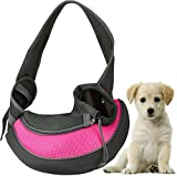 GPCT Pet Puppy Carrier Sling Hands-Free Shoulder Travel Bag. Great For Walking Your Pet. Dog Cat Pet Puppy Outdoor Reversible Pouch Mesh Shoulder Carry Bag Tote Handbag Carrier- (Pink Large)