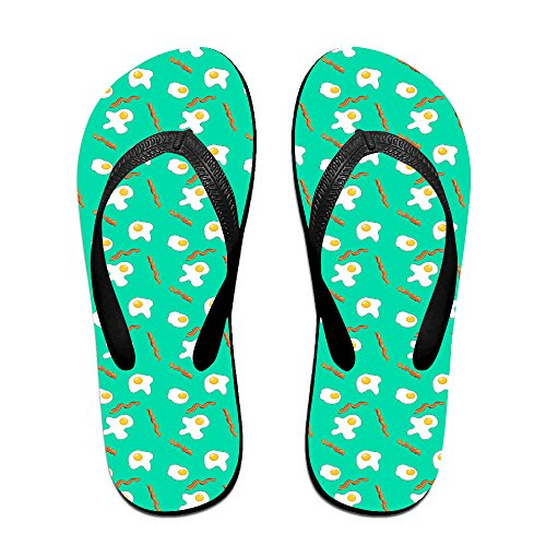 Eggs And Bacon Breakfast Unisex Fashion Beach Slipper Indoor And Outdoor Classical Flip Flop Thong Sandals M (Tiger Flip Sandals)