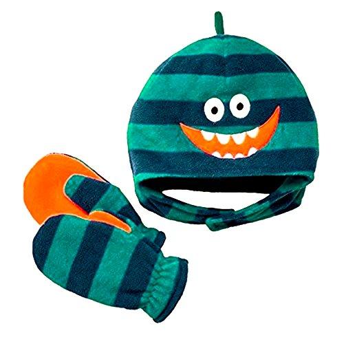 (Jumping Beans® Silly Monster Fleece Hat & Mittens Set, Blue/Green, 6-18 months)