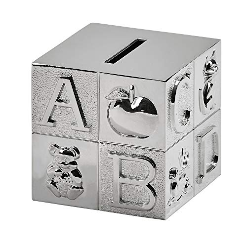 - Creative Gifts International Large Block Bank with Polished Finish, Silver