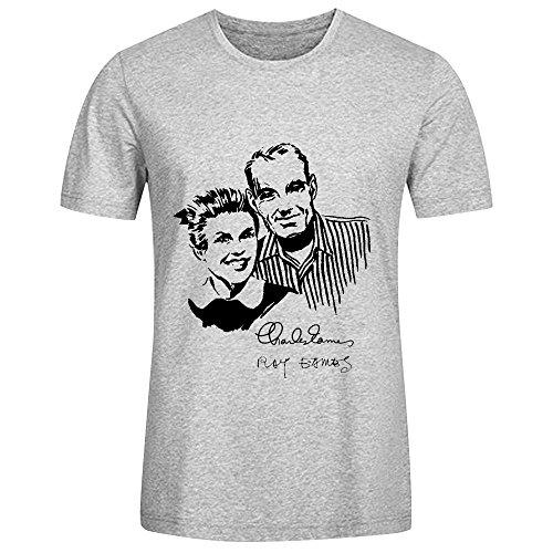 FGEXYZ Custom charles_ray_eames Men Tshirts Cotton Round Collar Grey (Charles Cotton T-shirt)