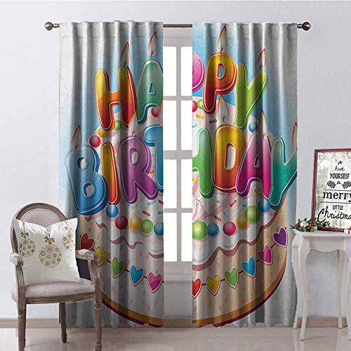 (GloriaJohnson Kids Birthday Heat Insulation Curtain Cartoon Style Happy Birthday Party Image Cake Candles Hearts Design Print for Living Room or Bedroom W42 x L63 Inch Multicolor)