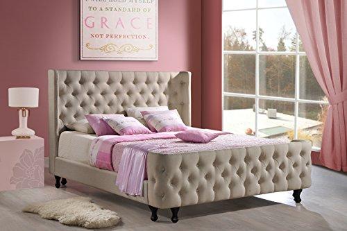 Baxton Studio Ipswich Linen Modern Platform Bed, King, Beige