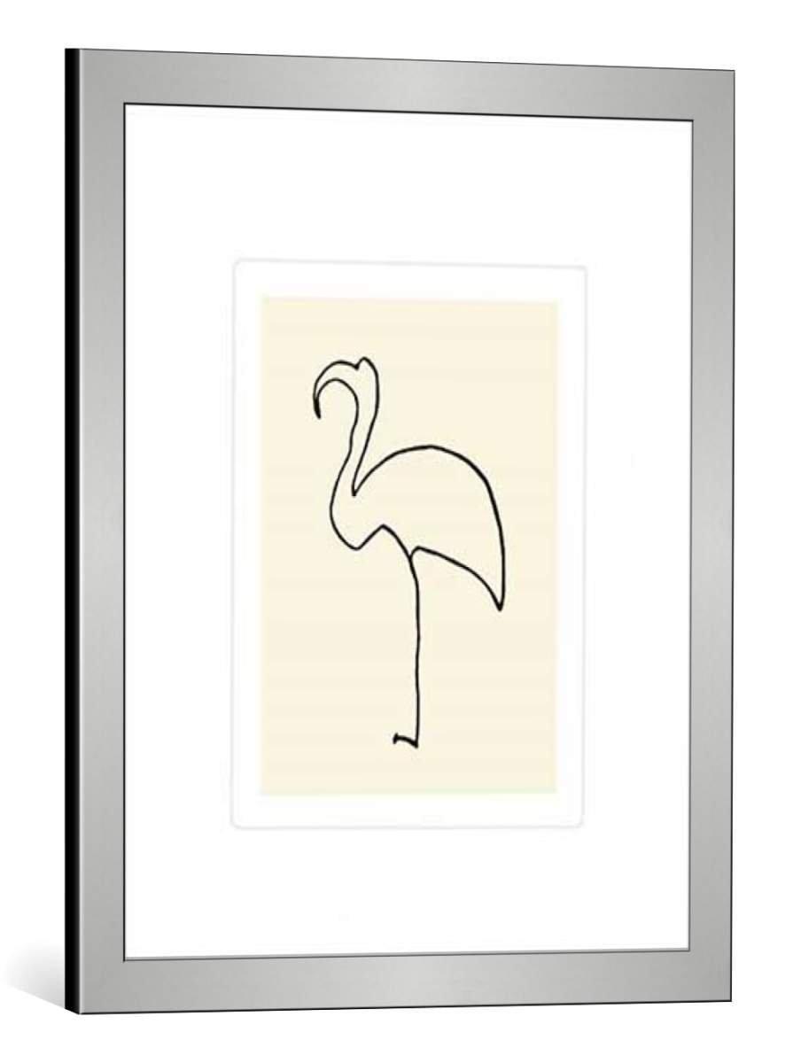 Kunst für alle Bild mit Bilder-Rahmen  Pablo Picasso Der Flamingo - dekorativer Kunstdruck, hochwertig gerahmt, 50x60 cm, Silber gebürstet