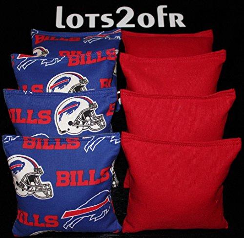 CORNHOLE BEAN BAGS w BUFFALO BILLS fabric on both sides of logo bags Hole -