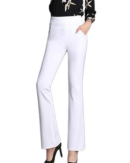 10c80ea828 Pantalones Casual Mujer Bootcut Elástico Acampanados Cómodo Slim Ancha  Trousers Pants Blanco M  Amazon.es  Ropa y accesorios
