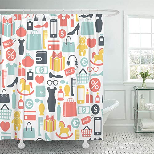 Emvency Shower Curtain Pattern Accessories Colorful Shopping Fun Purse Shoes Mobile Credit Shower Curtains Sets with Hooks 60 x 72 Inches Waterproof Polyester Fabric