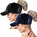 High Ponytail Baseball Hats Cap for Women(Washed),Messy Bun Ponycaps Adjustable Cotton Sun Baseball Cap (Washed-PD-Black/Navi Blue)