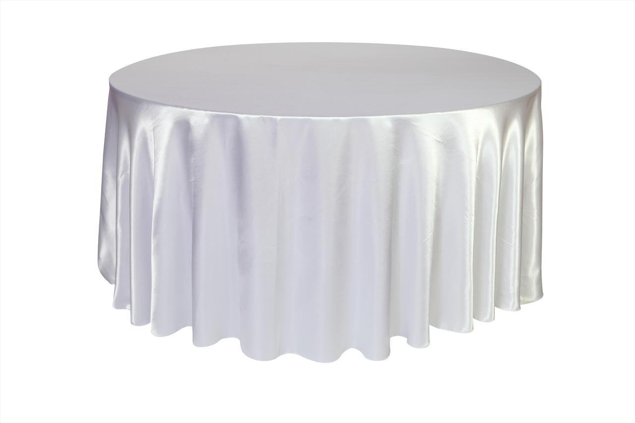 Your Chair Covers - 120 inch Round Satin Tablecloths White, Round Table Linens for 5 ft Round Banquet Tables