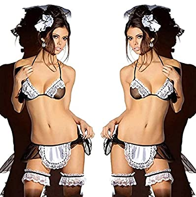 NEW! Sexy Women Halloween Costume Cosplay French Maid Lingerie Outfit Fancy Dress