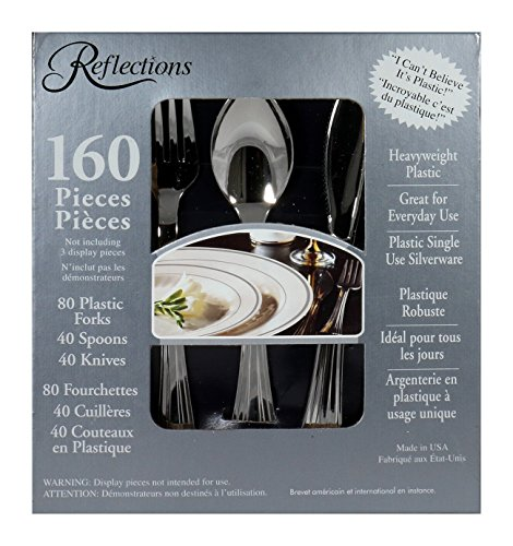 reflections 160piece plastic silverware