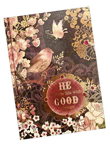 Pooch & Sweetheart Gold Foil Gem Embellished Hardcover Scripture Journal, Midnight Bird Garden, Psalm 103:5 (96689)