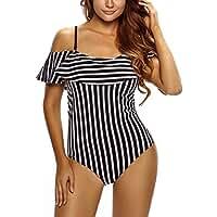 FARYSAYS Women's Stylish Ruffle Off the Shoulder One-Piece Swimwear Swimsuit