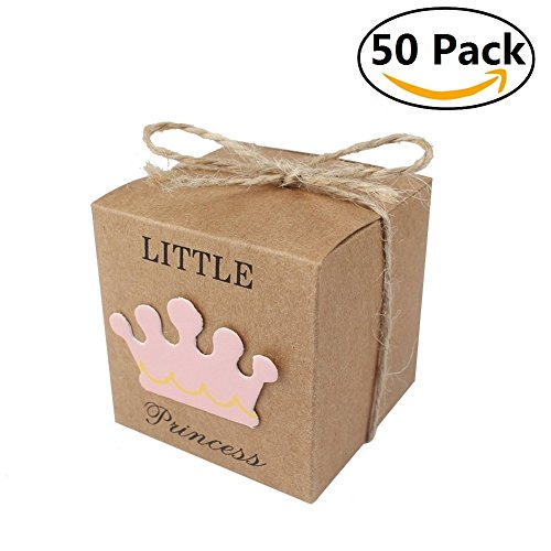 Leagway 50pcs Little Princess Baby Shower Favor Boxes + 50pcs Twine Bow, Rustic Kraft Paper Candy Bag Gift Box for Baby Shower Party Supplies Cute 1st Birthday Girl - Birthday Sunglasses 30th