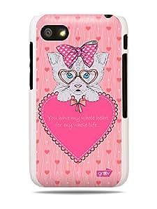 GRÜV Premium Case - 'Pink Kitten Kitty Cat Hearts Love' Design - Best Quality Designer Print on White Hard Cover - for Blackberry Q5