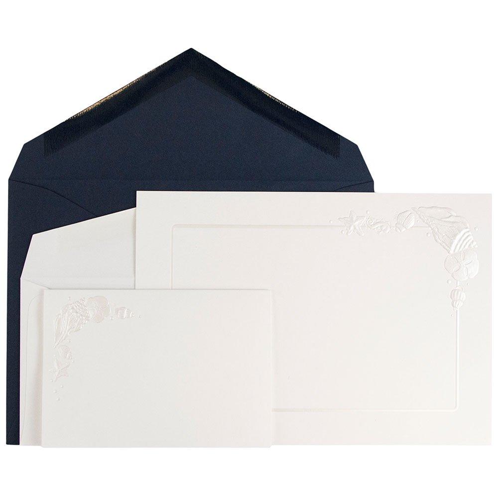 JAM Paper® Wedding Invitation Combo Set - 1 Small & 1 Large Set - White Embossed Cards with Cobalt Blue Envelopes - 150/pack