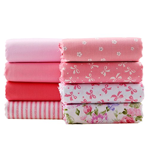 Pink Series Floral Cotton Fabric Patchwork Fabric Fat Quarter Bundles Fabric For DIY Crafts Bedding Bags Doll Dress 40X50cm 6 Pieces (As Picture Shown)