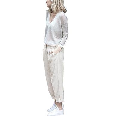 SOMESUN-Pantaloni Skinny Da Donna a Vita Alta Con Jeans Righe e Moda Fiocco  Dolce b20c292b6a9