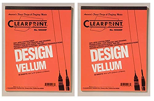 Clearprint 1000H Design Vellum Pad, 16 lb, 100% Cotton, 8-1/2 x 11 Inches, 50 Sheets, Translucent White, 1 Each (10001410) (Тwo Рack) by Clearprint