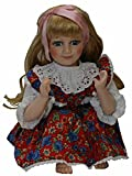 A 21 Inches Beautiful Siting Porcelain Doll. With White Lace and Colorful Print Flower Cotton Dress. Golden Hair with Satin Ribbon thumbnail