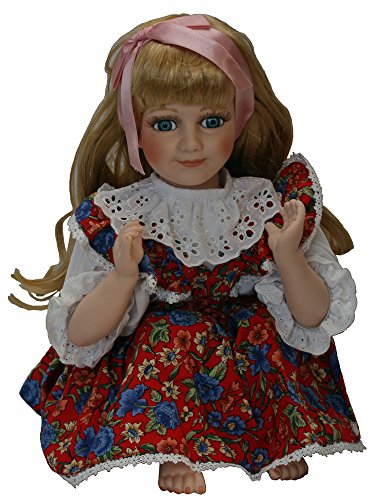A 21 Inches Beautiful Siting Porcelain Doll. With White Lace and Colorful Print Flower Cotton Dress. Golden Hair with Satin Ribbon image